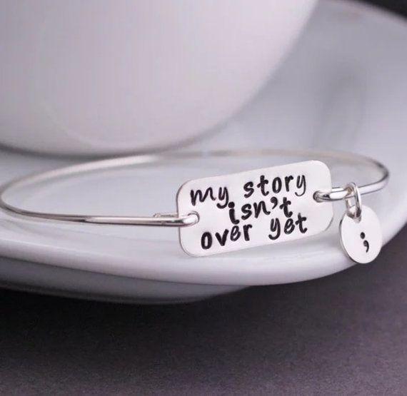 Strength & Courage! https://www.etsy.com/listing/288446095/semicolon-bracelet-suicide-awareness #etsy #awareness #gcrdesigns