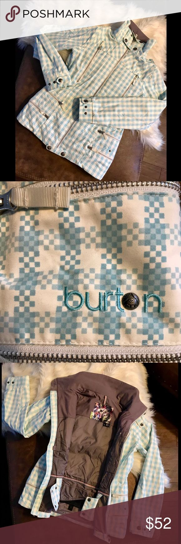 Burton Ski/Snowboard Jacket Blue & White checked Burton jacket! Fairs great on the slopes, and is in great condition. No stains or marks. Plenty of pockets. Size small, fits true. Modeled on 5' 9''. Some room for layers underneath. All reasonable offers accepted! Burton Jackets & Coats