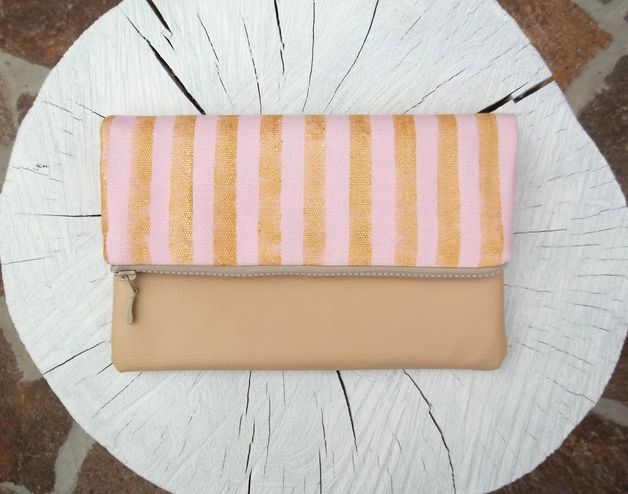via en.dawanda.com Wristlets – Gold striped pink clutch bag – a unique product by Malooki on DaWanda