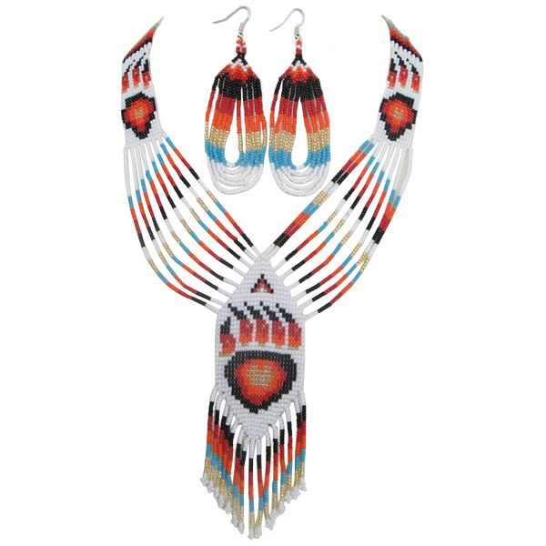"Native American Tribal Beading Patterns | Eagle Spirit Native American Store - ""Beaded Bear Paw Necklace Set"""