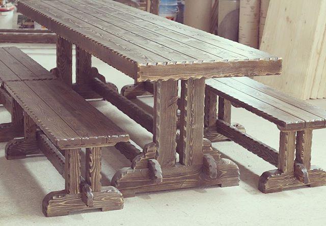 Комплект мебели из дерева ручной работы. Длинный 3-метр. стол и лавки.  #wood #woodworking #woodart #handmade #eco #rustic #homedecor #дерево #art #vscocam #nofilter #eco #photo #instagood #instaphoto #likstudio