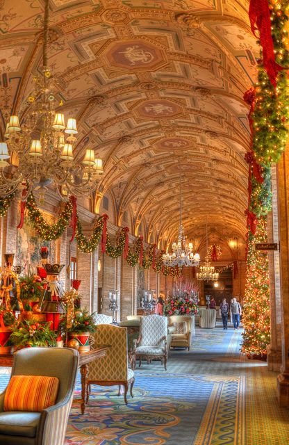 This is a picture of the Breakers Hotel Lobby in Palm Beach, FL during the Christmas season!!! Bebe'!!! Gorgeous holiday decorations!!!