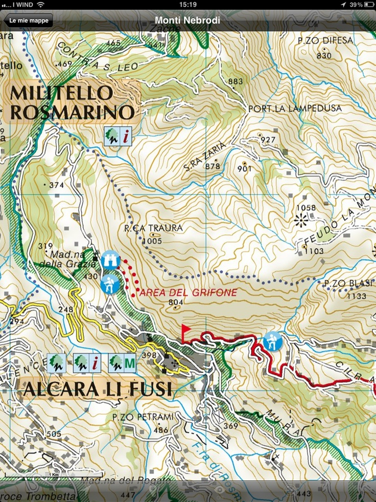 Nebrodi Mounts Regional Park, Sicily. The New Hiking Trails Map available for iPad and iPhone throw Mappe d'Italia app: http://itunes.apple.com/app/mappe-ditalia/id489177700?mt=8