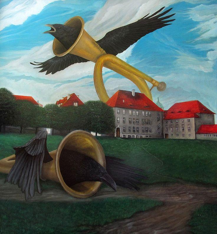 CROWS | 87 x 87 cm | Acrylic and Oil Painting on Hardboard | ® Krzysztof Polaczenko 2015