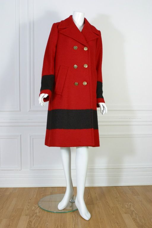 GUCCI, Red and black woolen coat, circa 2000