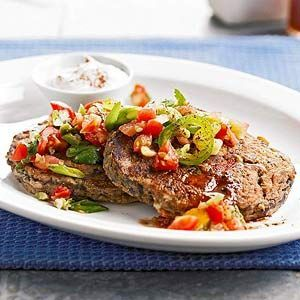 Black Bean Cakes with Salsa This quick and easy meatless main dish recipe gets its bite when topped with slices of jalapeno pepper and salsa. Black beans combine with corn muffin mix to make the patties.
