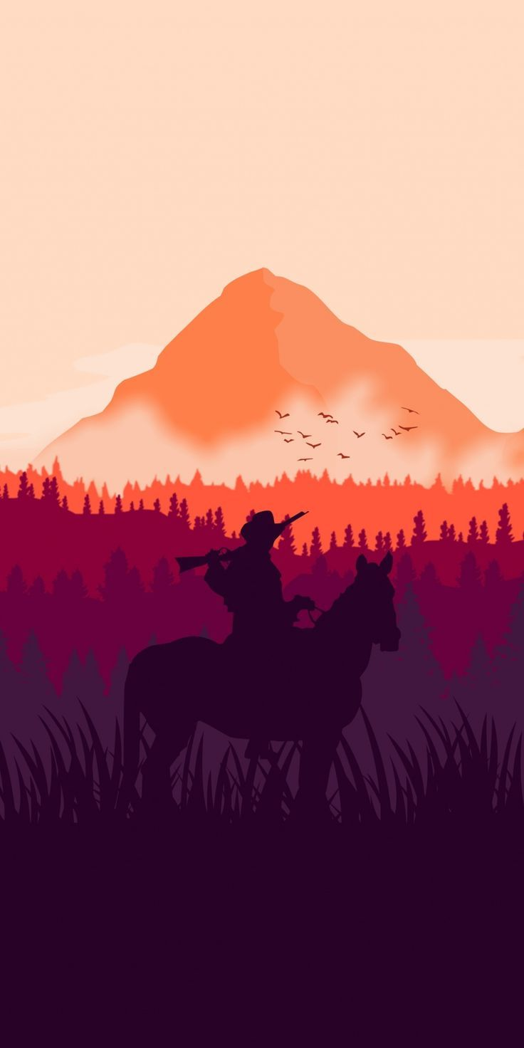 Red Dead Redemption 2 Horse Ride Silhouette Art 1080x2160