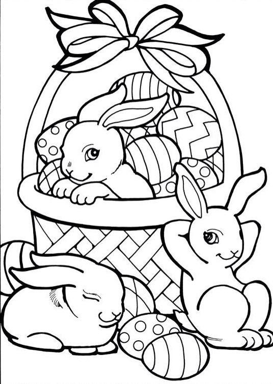 Lapins panier avec des œufs de Pâques