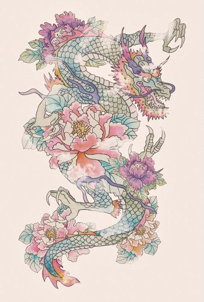 beatiful dragon and flower tattoo