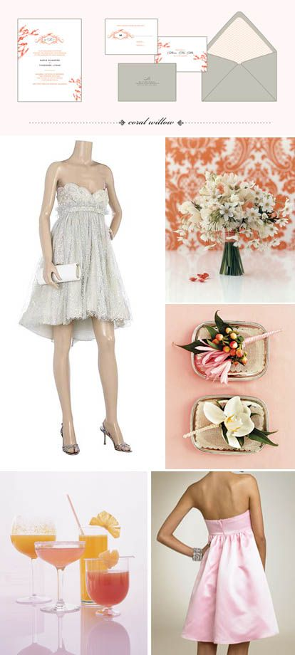 Cream and coral pretty wedding details: Wedding Ideas, Coral Wedding Colors, Daughters Weddings Some, Platinum Weddings, Coral Weddings, Wedding Color Palettes
