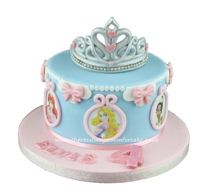 Disney Princess Birthday Cake with Tiara Topper