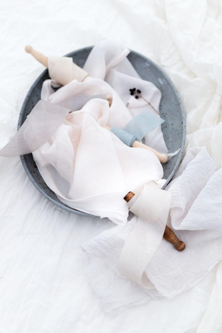 floretally blue and gray silk ribbons