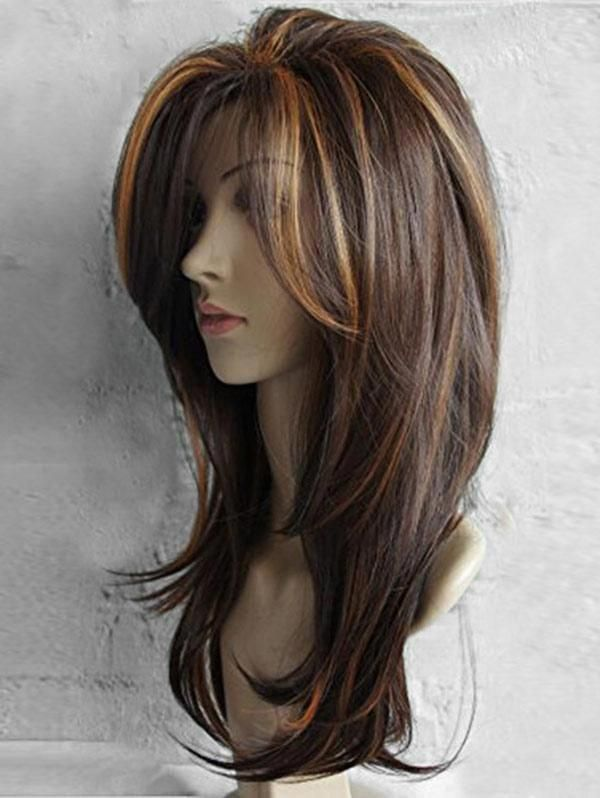 Estimated Delivery Time: 10 – 18 working days. Features:- Unique and color-mixed long layered highlighted straight hair wig with side fringe- It is a