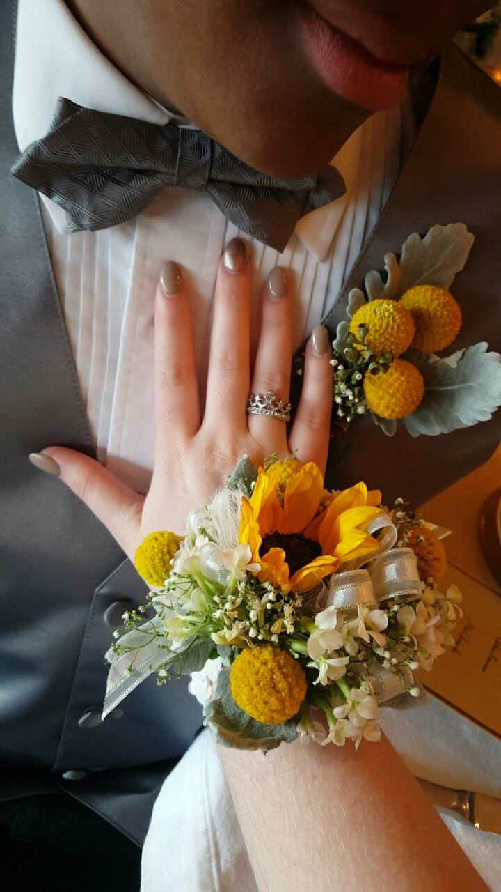 Billy ball boutonniere with sunflower corsage