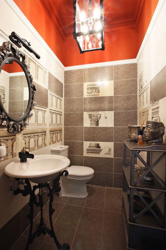 Дизайн интерьера туалета: 85 больших идей для маленького помещения (фото) http://happymodern.ru/interer-tualeta-75-foto-idej/ Если вы хотите экстравагантный интерьер, вам подойдет красный потолок