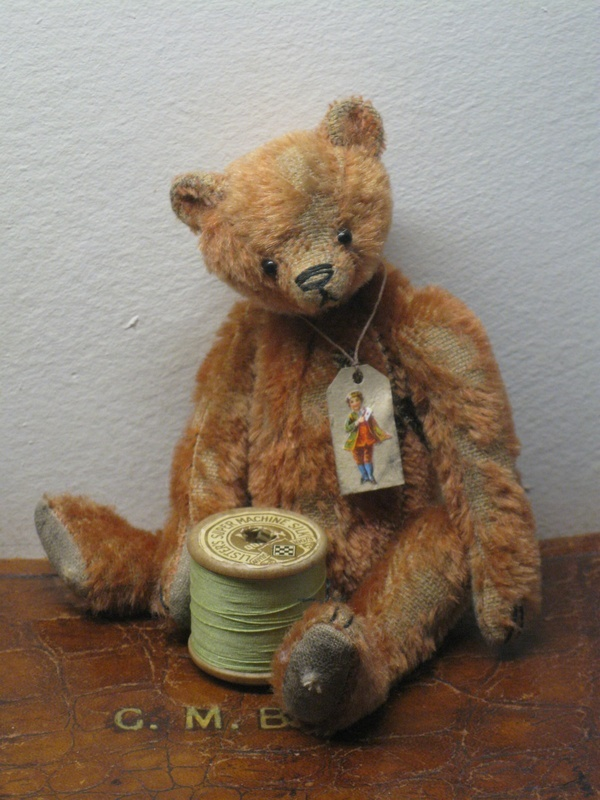 Old Miniature Bear...with spool of thread & tag...2011/2012 - The Old Post Office Bears.