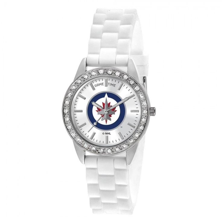 Winnipeg Jets NHL Women's Frost Series Watch  Hopefully your team's hotter than this frosty watch from #Game #Time! The Women's Frost Watch feature's an official team logo. Your team's color logo will stand out beautifully surrounded by the silver tone case and white silicone band. This is a must have for the female fan that's passionate about her sports team!