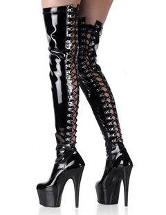 Stivali sexy neri aperti con fori in PU con piattaforma e tacchi sottili alti