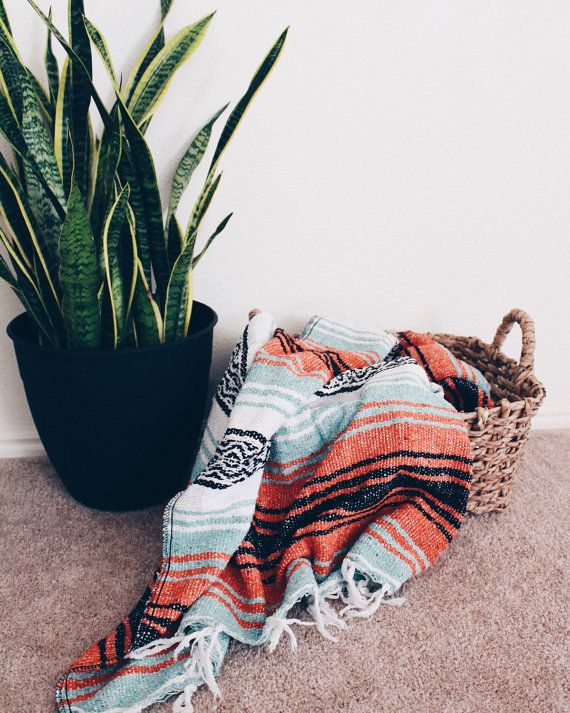 Mint and orange Handwoven Bohemian Vintage Mexican Beach and Yoga Blanket  These are great styled as rugs, blankets, throws, beach blankets,
