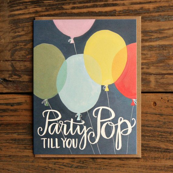 Party Till You Pop Birthday Illustrated Card by 1canoe2
