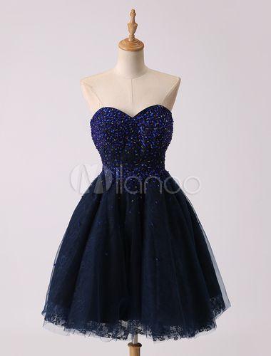Prom-Kleid aus Tüll in Dunkelblau - Milanoo.com