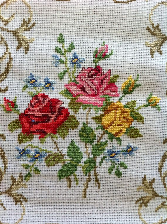 Roses-Red-Yellow-Pink with Vine Boarder-Completed Counted Cross Stitch-Cut Flower
