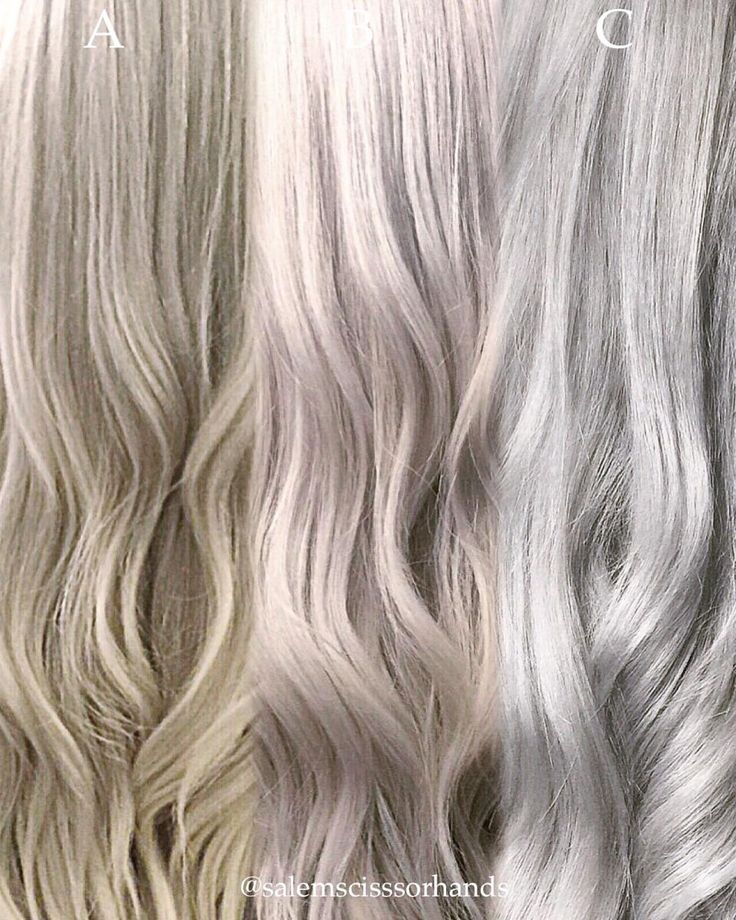 """Salem (@salemscissorhands), a freelance hair artist from Sacramento, CA (but relocating to Los Angeles, CA next month), posted this 3 panel photo of the same client with three different shades leading up to their mutual goal of silver blonde. Here Salem shares the formulas for this journey: Panel """"A"""" (sandy beach blonde): Balayage the ends with Redken Flashlift + 20 volume. Paint the root with Kenra 5n + 20 volume. Process for 30 minutes and rinse. Tone with Kenra 5 Rapid Toner, 9P."""