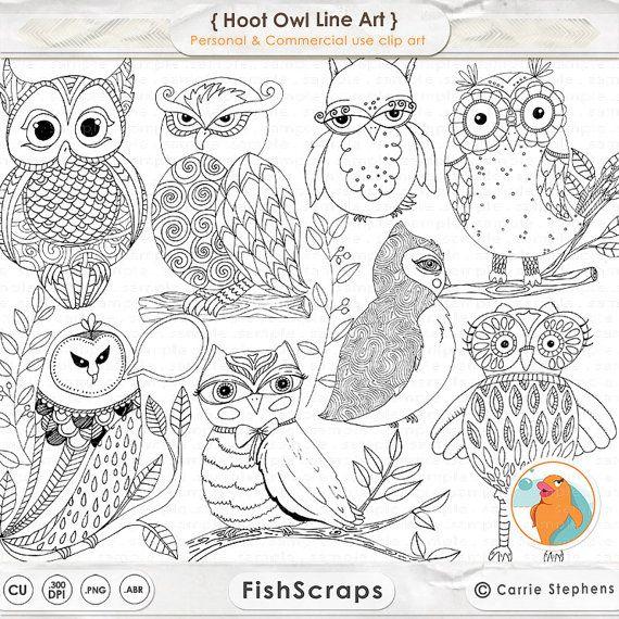 Owl Doodle Line Art Cute Digital OWL Graphics Woodland ...