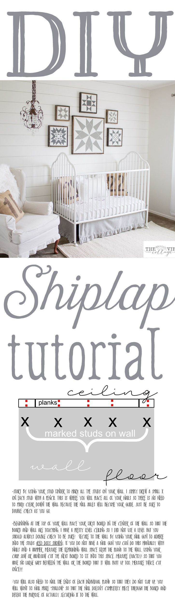 "Diy- Full Tutorial on how to create that beautiful shiplap look in your home! This is especially great for ""cookie cutter"" homes to create a more cozy custom feel!"