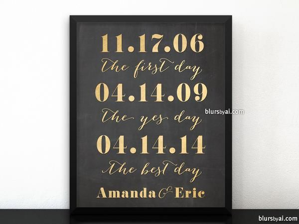 Personalized Relationship Timeline Printable Sign Digital In Gold And Chalkboard Style