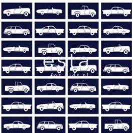Stoer donkerblauw behang met auto's van Esta Jimbo. Dit behang staat super gaaf in elke jongens slaapkamer. Op het behang staan verschillende auto's afgebeeld.