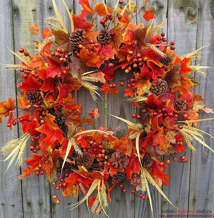 Изготовление осенних венков из листьев.. Фото №1