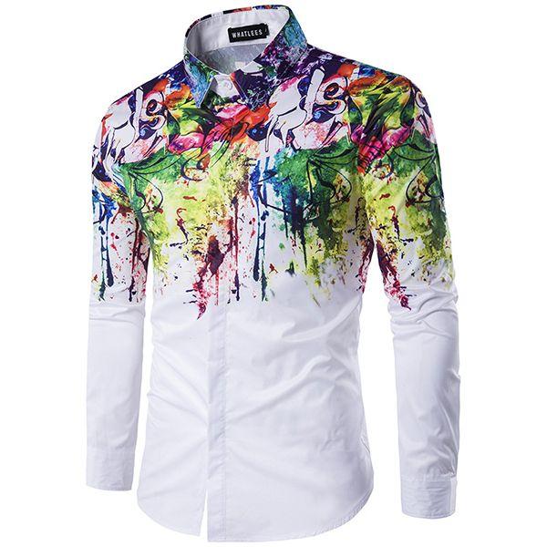 Flores splash-tinta salpicado pintura de impresión solapa camisa de manga larga hombres