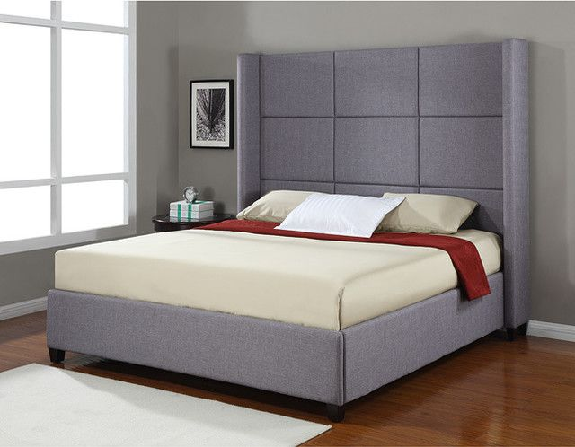 modern king sized bed frame with tall headboard