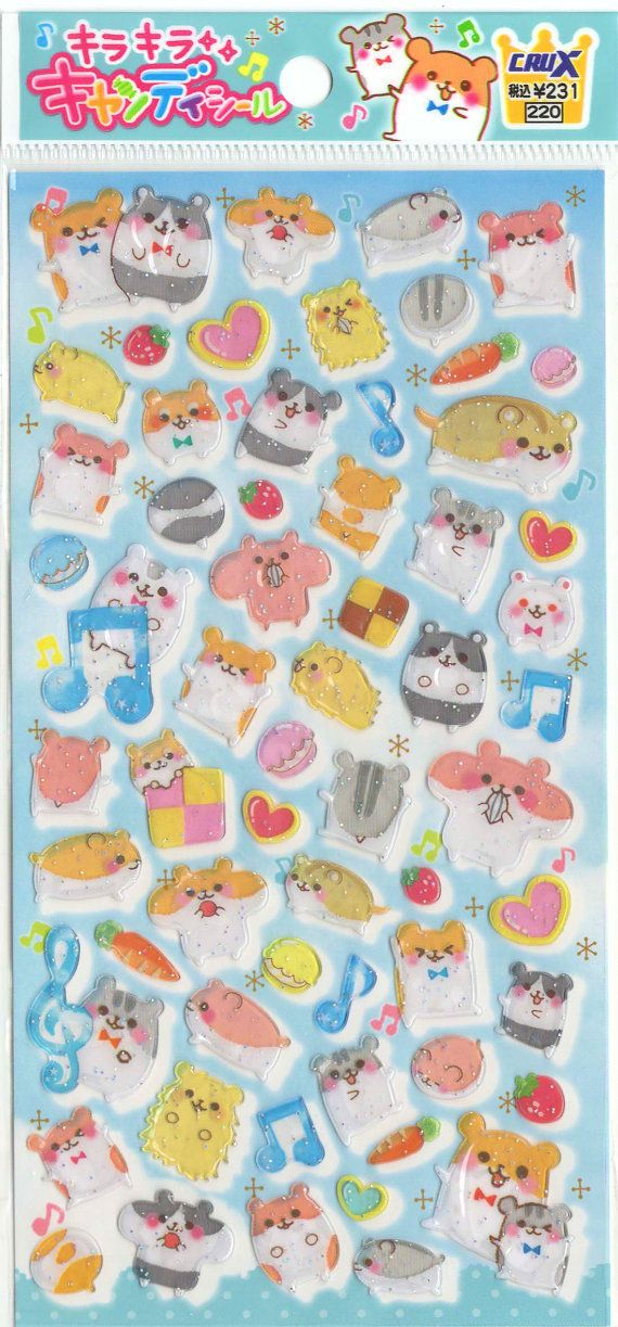 Kawaii Japan Sticker Sheet Assort: Candy Series Hamsters Stickers