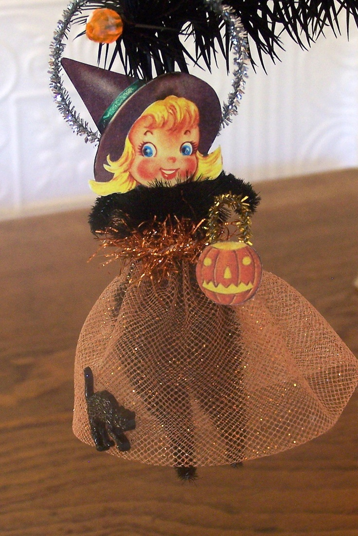 Vintage halloween window decorations - Little Witch Retro Style Halloween Decoration Ornament 12 00 Via Etsy