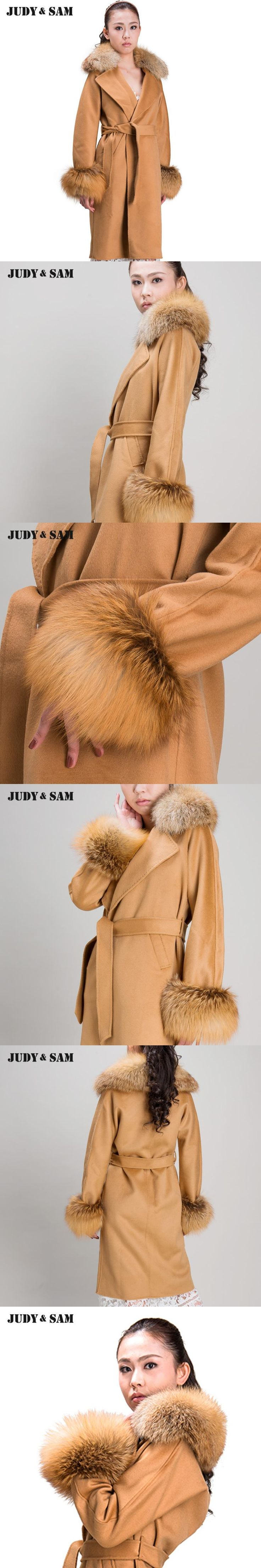 Turn-Down Collar Topcoat Free DHL Long Woolen Red Fox Collar Cuff Leisure Women Coat For Winter Female Fur Wool Outwear