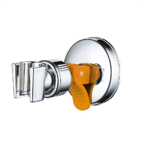Descriptions: Adjustable Shower Head Holder with Suction Cup Chrome Bracket Material: ABS+PP Color: Sliver & Orange Dimension: 106*70mm (L*Dia.) Maximum Weight Bearing: 5KG Features: It has an extra strong suction cap. Install and remove easily with the suction cup. Directly absorb to the...