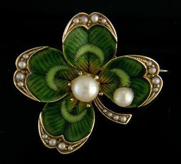 Bippart-Griscom Four Leaf Clover Art Nouveau Brooch          via Flora VerDow Fisk