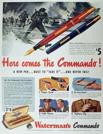 1942 Waterman's Commando Fountain Pen Ad
