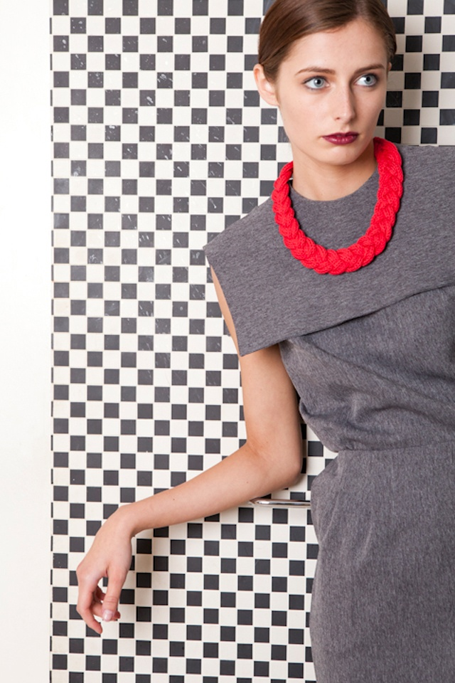 Think Boutique - House of Bilimoria, Tailored grey collar dress made in the UK from recycled fabrics