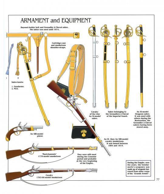 Armamento e equipaggiamento della Gendarmeria di élite a cavallo e a piedi della guardia imperiale, 1804-1815