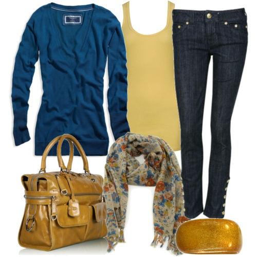 Love the blue and yellow combo.: Fashion, Outfit Idea, Style, Clothes, Cardigan, Fall Outfits, Blue Yellow, Scarf