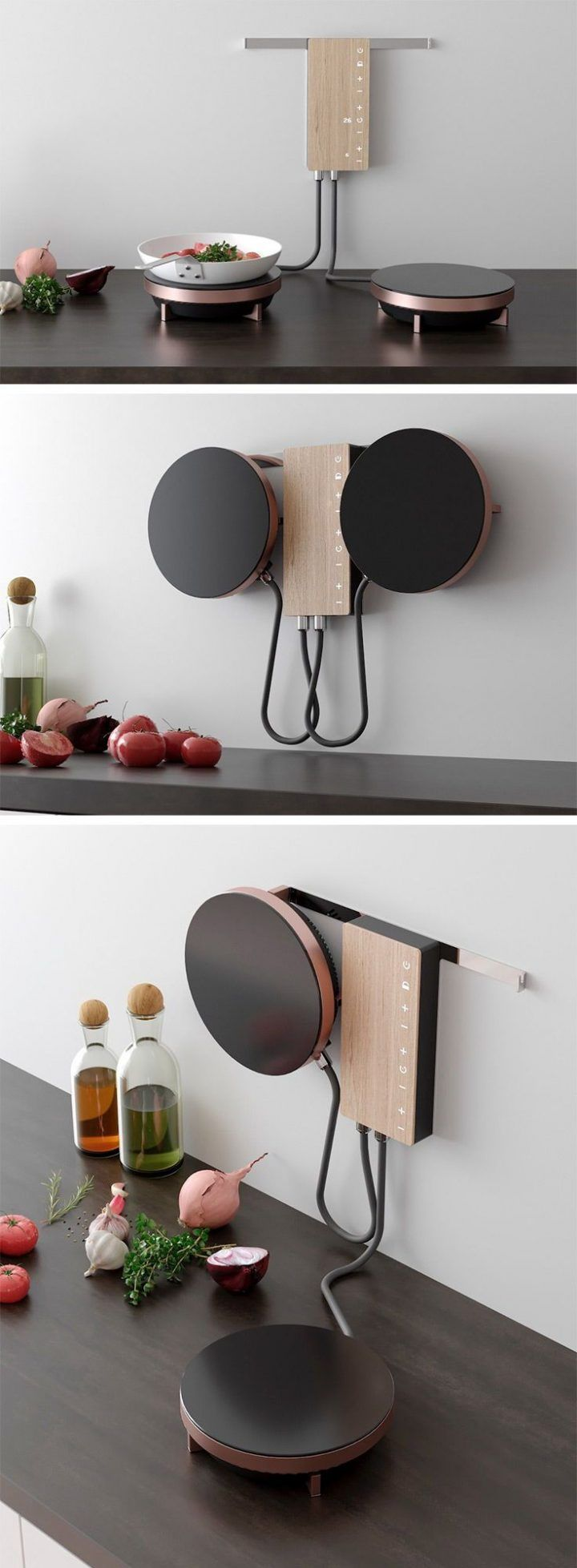 Ordine is an innovative cooking solution designed for the modern user. Optimized for small spaces, the design eliminates the need for a bulky traditional stove, clearing the way for more cabinet and counter space. The design features two hob units that are mounted on a central power hub on the wall. Elevated neatly out of the way, the user must simply grab one or both hobs off the wall and set the desired temperature to activate. – Rookie Dragon