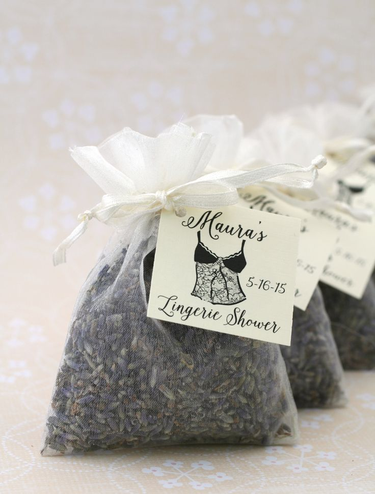 Lavender sachets with personalized tags for Lingerie Shower favors . #lavenderfavors #lingerieshower