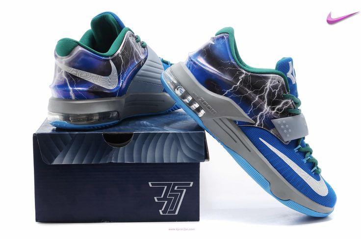 "scarpe da basket migliori ""Thunder"" KDVII-022 Blu Verde Nike KD VII"