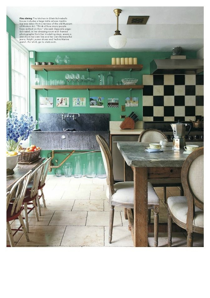 Great Kitchen - splash of color with black and white tile