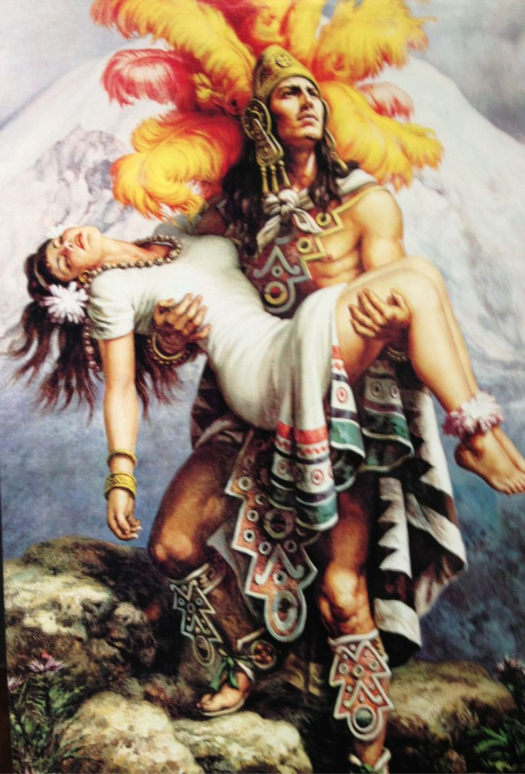 Aztec warrior save illustration