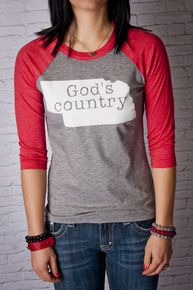 Nebraska God's Country Raglan t-shirt #509Broadway