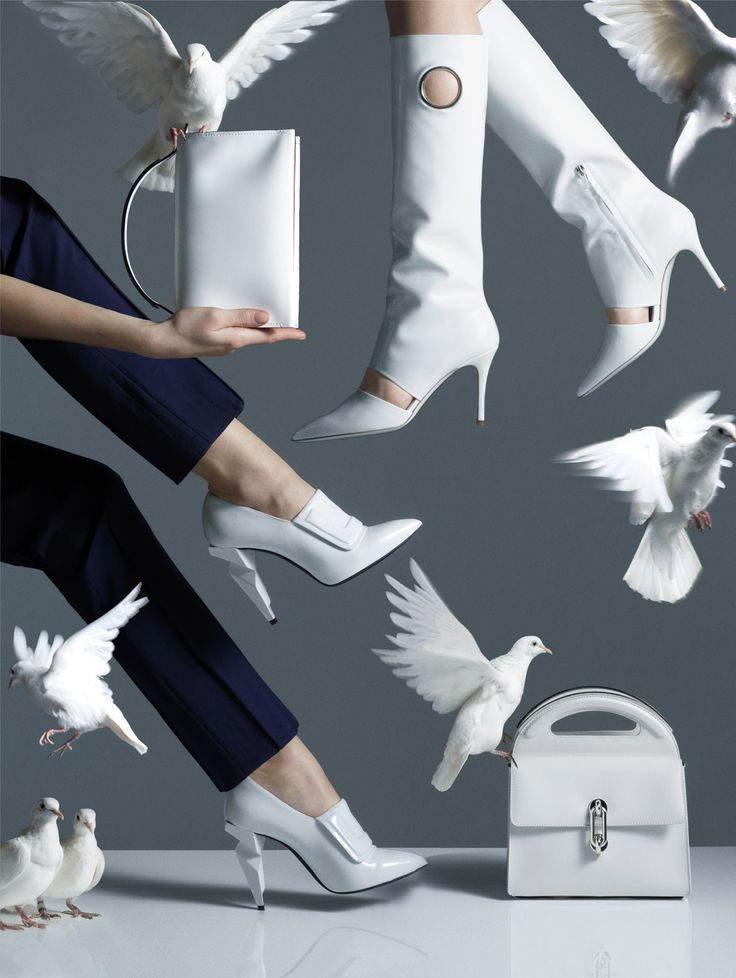 Love this assemblage of white as well as the effect of the flying boots.